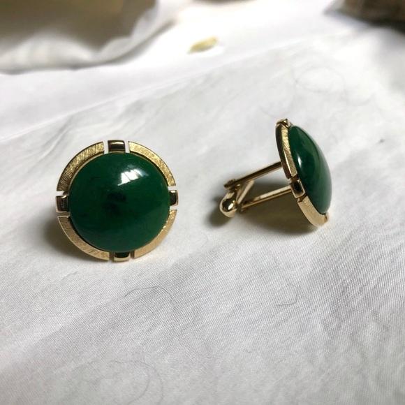 Swank Olive Green & Gold Cufflinks Vintage Round